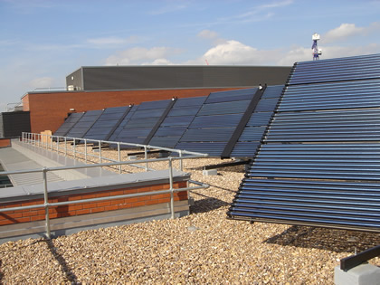 Large scale solar thermal collectors mounted on Solar  Trackers