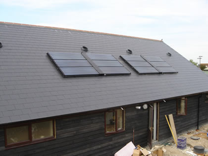 Solar Heating provides free hot water on Converted Barn and is eligable for RHI