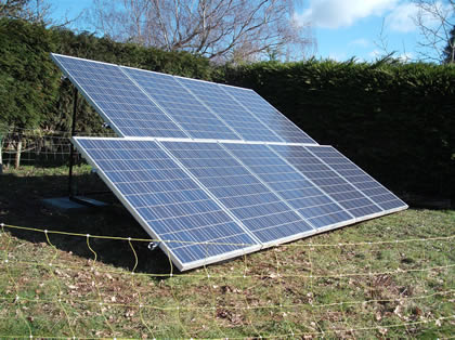 Solar PV Panels mounted on A frames in field in East sussex