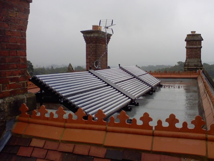 Solar Thermal panels installed on a Victorian Flat Roof and eligable for RHI