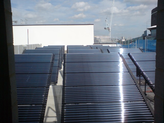 Large scale Solar Thermal LaZer II panel system on a comercial roof in London